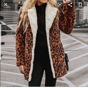 Derek Lam 10 Crosby faux fur leopard coat XL
